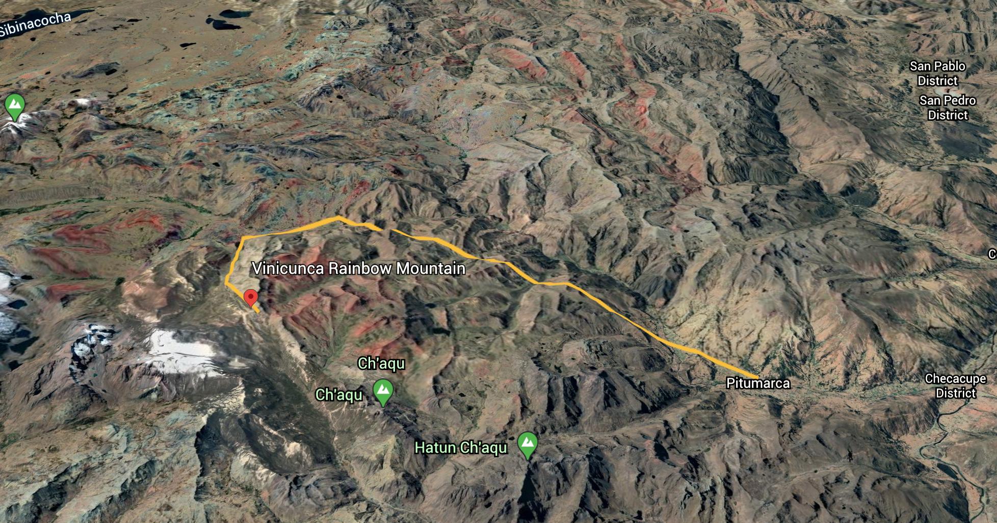 Rainbow Mountain Peru Map - Pitumarca Route